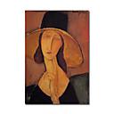 met de hand geschilderde olieverf Jeanne Hebuterne in een grote hat071 door Modigliani met gestrekte kader
