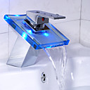 Single Handle Chrome Waterfall LED Bathroom Sink Faucet