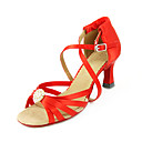 satijn bovenste rode hoge hakken lace-up latin ballroom dans schoenen schoenen voor vrouwen