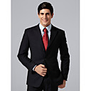 Custom Made Single Breasted Three-button Peak Lapel Side-vented Navy Groom Suit