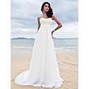 Lan Ting Sheath/Column Plus Sizes Wedding Dress - Ivory Sweep/Brush Train Sweetheart Chiffon