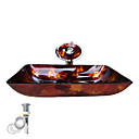 Golden Tempered Glass Vessel Sink With Waterfall Faucet ,Pop - Up drain and Mounting Ring