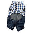 Combinaison-pantalon-Chien-Printemps/Automne-Bleu Tartan- enCoton