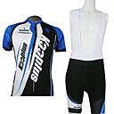 Kooplus-Men's Cycling Jersey + BIB Shorts Cycling Suits Short Sleeve (Blue and Black)