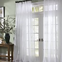 Solid Contemporary Ivory Sheer Curtain (Two Panels)