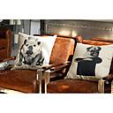 set de 2 chiot coton / lin peu couvert coussin décoratif