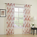 (Two Panels) Red Flower Print Sheer Curtain