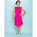 Knee-length Organza Junior Bridesmaid Dress - Fuchsia Sheath/Column Jewel