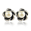 Charming Alloy Flower Shape Stud Earrings with Pearl(More Colors)
