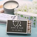 decoración de la boda cajas de fósforos personalizados - corazones dobles con flecha (conjunto de 12)