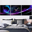 Modern Style Abstract Wall Clock in Canvas Set of 3