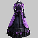 Langærmet Gulv-længde Purple Satin Cotton Aristocrat Lolita Dress