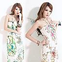 kvinders tropisk geometrisk print strand kjole (bust :70-94cm, længde: 128cm)