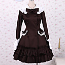 Chocolate Long Sleeve Knee-length Cotton School Lolita Dress
