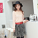 NAwain Solid Color Lace Pleats Bluse skjorte