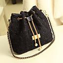 Women's Diamond Check Chain Tassels Tweed Crossbody Bag