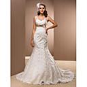 Hochzeitskleid - Weiß Satin - Meerjungfrau-Linie - Hof-Schleier - V-Ausschnitt Übergrößen