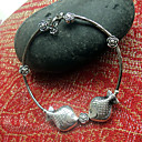 Women's Simple Kissing Fishes Slim Sliver Bracelet with Silver Rose