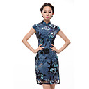 Women's Floral Blue Dress , Print/Vintage Stand Short Sleeve