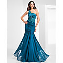 TS Couture Military Ball / Formal Evening Dress - Ink Blue Plus Sizes / Petite Trumpet/Mermaid One Shoulder Floor-length Chiffon / Tulle