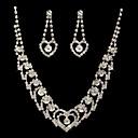 maravillosas joyas de fantasía de aleación checo plateado de boda joyería nupcial conjunto, incluyendo collar y los pendientes