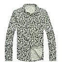 Menns Floral Print Vintage langermet skjorte