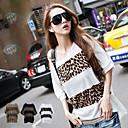 Modale delle donne Plus Size Leopard Print T-Shirt (busto: 160cm, lunghezza: 74 centimetri)