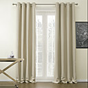 Grommet Top Blackout Solid Beige Classic Curtain (Two Panels)