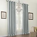 ojal superior cortina sólido gris apagón (dos paneles)