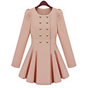 PINKLADY Sweet Double Breast Pleat Swing Sheath Long Coat