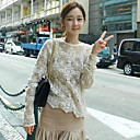 Women's Lace Embroidery Petal Edges Long Sleeve Outwear