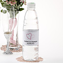 Personalized Water Bottle Sticker - Double Heart (Pink/Set of 15)