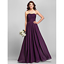 Floor-length Chiffon Bridesmaid Dress - Ruby / Grape / Royal Blue / Champagne Plus Sizes / Petite Sheath/Column Strapless