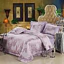 4PCS Purple Jacquard Silk Duvet Cover Set