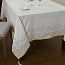 Blanc Mélange Poly/Coton Rectangulaire Nappes de table