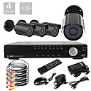 4ch D1 Real Time H.264 600TVL High Definition CCTV DVR Kit (4 Vanntett dag og natt CMOS kameraer)