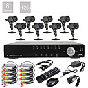 8CH D1 em tempo real H.264 600TVL High Definition CCTV DVR Kit (8 impermeável da noite do dia Câmeras CMOS)