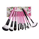 12pcs Pony Hair Makeup Brushes set Pink powder/foundation/concealer/blush brush shadow/eyeliner/lip brush cosmetic brush With Floral Pink Pouch