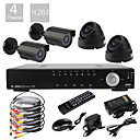 Ultra Low Price 4 Channel D1 Real Time H.264 CCTV DVR Kit (4pcs 420TVL Night Vision CMOS Cameras)