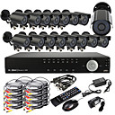 16CH D1 Real Time H.264 600TVL High Definition CCTV DVR Kit (16 Vanntett dag og natt CMOS kameraer)
