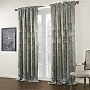 Two Panels Jacquard Blue Floral Blackout Curtain