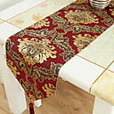 Broderie d'or Brocade Chemin de Table Rouge