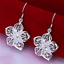 Fashion Brass Silver Plated Flower Earrings