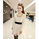 Women's Casual Solid Skater Dress , Peter Pan Collar Above Knee Polyester
