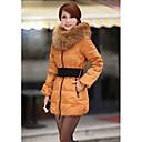 Women's Fur Collar Clip Cotton Tulip Coat With Belt