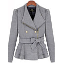 Women's Blue/Gray/White Coat , Casual Wool Blends