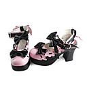 Handmade Pink and Black Bows PU Leather 7.5cm High Heel Sweet Lolita Shoes