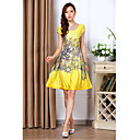 Women's Print Yellow Dress , Vintage/Casual U Neck Pleated