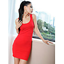 Women's Solid Dress , Bodycon/Party/Sexy Deep U Sleeveless