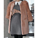 3/4 Sleeve Collarless Faux Fur Casual Coat(More Colors)